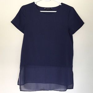 LOFT | Navy Mixed Media Short Sleeve Top Size XS